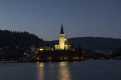 Night view of Bled royalty free stock images