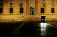 Night view of blue mosque and a cleaning car Royalty Free Stock Image