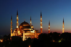 Night View on Blue Mosque in Istanbul, Turkey Stock Photo