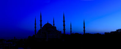 Night View on Blue Mosque in Istanbul, Turkey Stock Photography