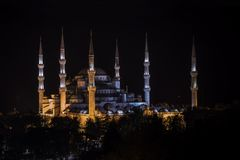 Night view of Blue Mosque of Ottoman architecture in Istanbul, Turkey. Night view of six minaret Blue Mosque of Ottoman architecture in Istanbul, Turkey stock photos