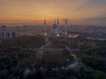 A night view at Blue Mosque, Shah Alam, Malaysia. Royalty Free Stock Photography