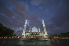 A night view at Blue Mosque, Shah Alam, Malaysia. Blue Mosque or The Sultan Salahuddin Abdul Aziz Shah Mosque is the state mosque of Selangor, Malaysia royalty free stock photography