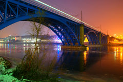Night View Of Blue Railway Bridge in Maribor In Winter royalty free stock photo