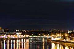 Night view from the Bogdan Hmelnitsky bridge Royalty Free Stock Photo