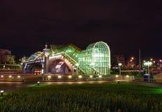 Night view of the Bogdan Hmelnitsky bridge. In Moscow stock photos