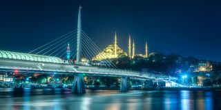 View of Bosphorus bridge at night Istanbul. Night view of Bosphorus bridge with lights Istanbul, Turkey royalty free stock images