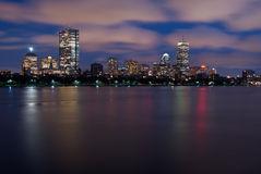 Night View of the Boston Skyline Over the Charles Royalty Free Stock Image