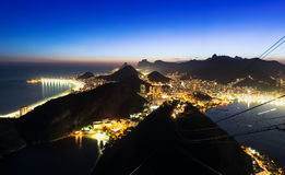 Night view of Botafogo and Copacabana beach in Rio de Janeiro Royalty Free Stock Images