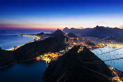 Night view of Botafogo and Copacabana beach in Rio de Janeiro Stock Photo