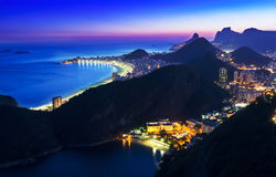 Night view of Botafogo and Copacabana in Rio de Janeiro royalty free stock photos