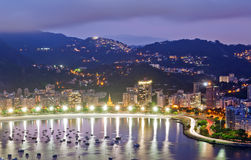 Night view of Botafogo in Rio de Janeiro. Night view of Botafogo and Guanabara bay in Rio de Janeiro royalty free stock photography