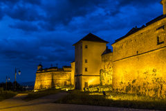 Night view of Brasov Fortress. The citadel, part of Brasov's outer fortification system, was one of the strongest defensive citadels in Transylvania, Romania Stock Photos