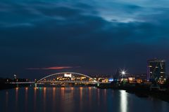 Night Bratislava`s dominants, castle and bridges stock photography