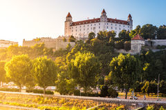 Night view of Bratislava castle in capital city of Slovak republic. Royalty Free Stock Images