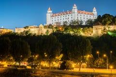 Night view of Bratislava castle in capital city of Slovak republic. Royalty Free Stock Photos