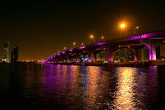 Night view of the bridge in downtown Miami Stock Image