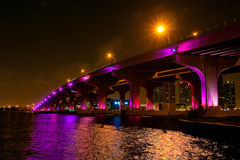 Night view of the bridge in downtown Miami. US Royalty Free Stock Images