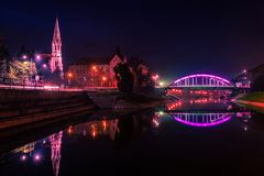 Night view of the bridge and lake in Zrenjanin Royalty Free Stock Photo