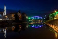 Night view of the bridge and lake in Zrenjanin Stock Photos