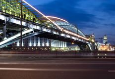 Night view bridge in the Moscow Royalty Free Stock Photography