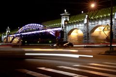 Night view bridge in the Moscow Royalty Free Stock Photos