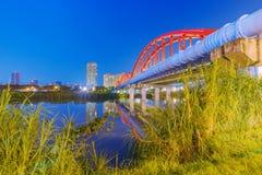 Night view of a bridge. In the guting area of Taipei stock photo