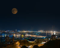 Night View of Bridge over Golden Horn (Zolotoy Rog) Bay. Royalty Free Stock Image