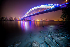 Night view of the bridge. This picture is about the most beautiful night view of the bridge in shanghai Stock Image
