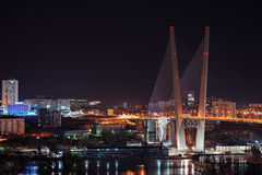 Night view of the bridge in the Russian Vladivostok Stock Photos