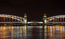 Night view of bridge. In Saint-Petersburg city, Russian Federation Royalty Free Stock Images