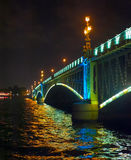 Night view of bridge. In Saint-Petersburg city, Russian Federation Stock Photos