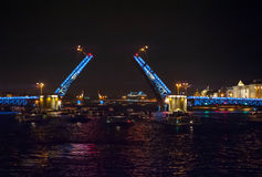 Night view of bridge. In Saint-Petersburg city, Russian Federation Royalty Free Stock Image