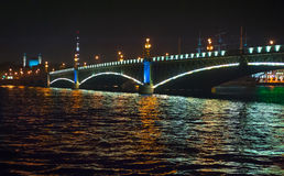 Night view of bridge. In Saint-Petersburg city, Russian Federation Royalty Free Stock Photos