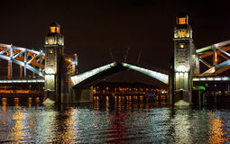Night view of bridge. In Saint-Petersburg city, Russian Federation Royalty Free Stock Photography