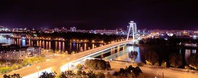 Bridge of the Slovak National Upraising, Danube river, capital Bratislava, Slovakia Royalty Free Stock Images