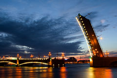 Night view of the Bridge. St Petersburg. Traffic and foot bascule bridge spanning the Neva River in Saint Petersburg Royalty Free Stock Photos