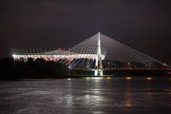 Night view of bridge and stadium in Warsaw Royalty Free Stock Photo