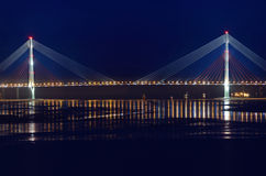 Night view for the bridge to the Russky island in Vladivostok Royalty Free Stock Photos