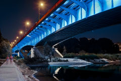 Night view of bridge in Warsaw stock images