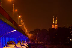 Night view of bridge in Warsaw Stock Photo