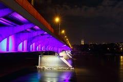 Night view of bridge in Warsaw Stock Image