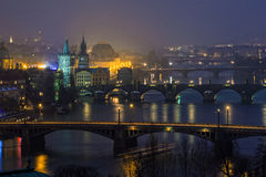 Night view on bridges in Prague, Czech Republic Stock Image