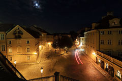 The night View on bright Prague Island Kampa, Czech Republic Royalty Free Stock Images