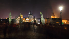 The night View on bright Prague Old Town Stock Photos