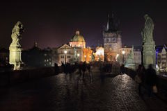 The night View on bright Prague Old Town from Charles Bridge, Czech Republic Royalty Free Stock Photography