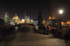 The night View on bright Prague Old Town from Charles Bridge, Czech Republic Stock Images
