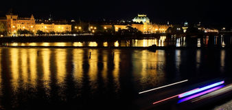 Night View on bright Prague Old Town with National Theatre Royalty Free Stock Photography