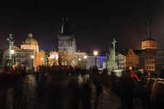 The night View on bright Prague Old Town with Sculptures, Czech Republic Royalty Free Stock Photos