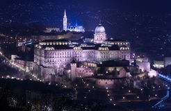 Night view of Buda castle in Budapest. View from Gellert Hill, popular landmarks of the Hungarian Capital royalty free stock image